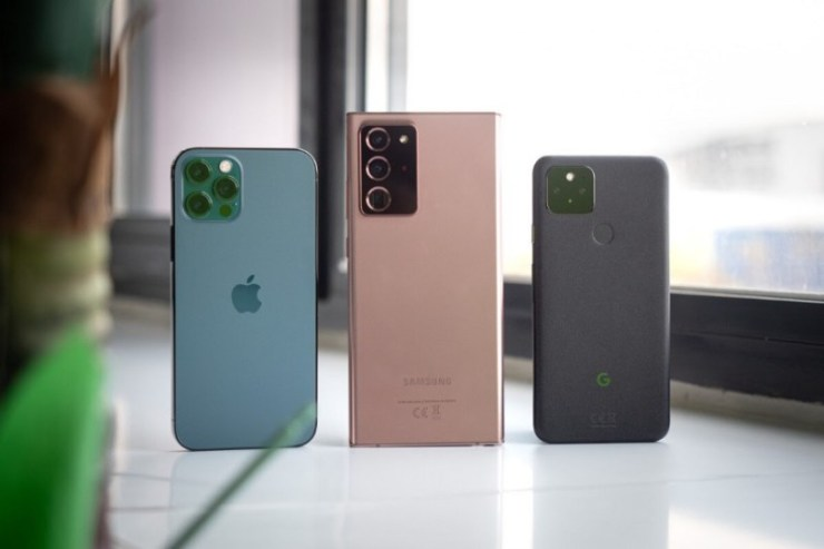 Pixel 4a 5G, Samsung Note 20 Ultra and iPhone 12 Pro Max