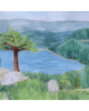 Lake Tahoe June 2008 Professional Prints of Watercolor Pencil Scenic Landscape Fine Art