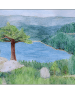 Lake Tahoe June 2008 Giclee Print of Watercolor Pencil Scenic Landscape Fine Art