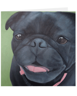 Maya – 5×5 Folded Greeting Card of Black Pug Dog Acrylic Paint Fine Art