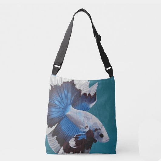 Betta Fish – Adjustable Strap All Over Tote of Siamese Fighting Fish Acrylic Paint Fine Art