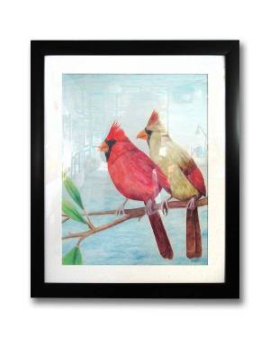 Cardinal Couple Watercolor Pencil Avian Totem Animal Fine Art Original