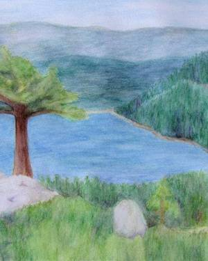 Lake Tahoe June 2008 Poster of Watercolor Pencil Scenic Landscape Fine Art