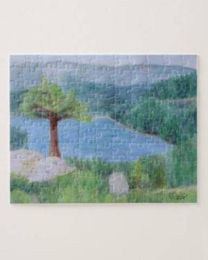 Lake Tahoe June 2008 Puzzle of Watercolor Pencil Scenic Landscape Fine Art