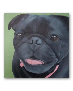 Maya – Black Pug Acrylic Paint Fine Art Original