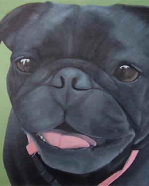 Maya – Giclee Print of Black Pug Dog Acrylic Paint Fine Art