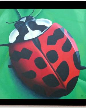 Coaster - Lunching Lady . . . Bug - Coasters Of Lady Bug Acrylic Paint Fine Art