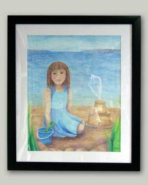 Fine Art, Prints, And Products - Diana At The Beach - Little Girl Watercolor Pencil Original Art And Printed Products