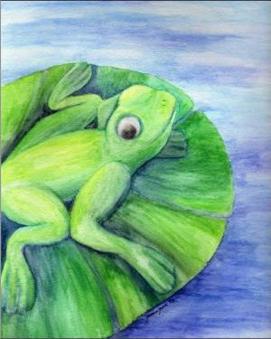 Giclee Print - Cleanse Replenish Adapt - Giclee Print Of Frog Watercolor Pencil Fine Art