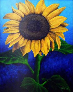 Metal Print - Face The Sun - Sunflower Metal Print Of Acrylic Painting Fine Art