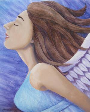 Mixed Media Original Art - Air Goddess Flying - Angel Acrylic Paint And Watercolor Pencil Fine Art Original