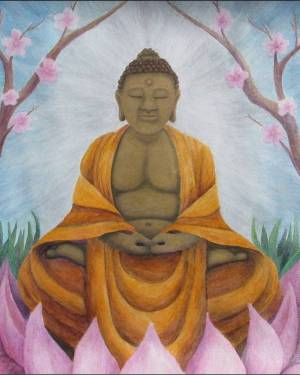 Poster - Buddha - Poster Of Acrylic Paint And Watercolor Pencil Fine Art