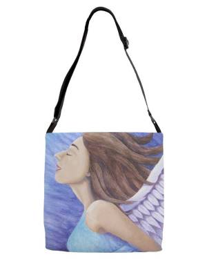 Tote - Air Goddess Flying - Adjustable Strap Tote Of Angel Acrylic Paint And Watercolor Pencil Fine Art