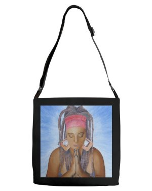Tote - Namaste - Adjustable Strap Tote Of Acrylic Paint And Watercolor Pencil Fine Art