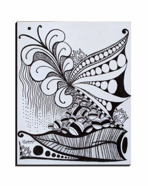Wrapped Canvas - Nature Zen Doodle - Wrapped Canvas Of Ink Fine Art Drawing