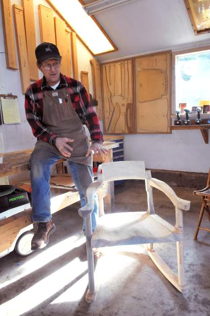 unfinished wood rocking chair zinger accessories sense of place informs every piece made by the father-and-son team erickson woodworking ...