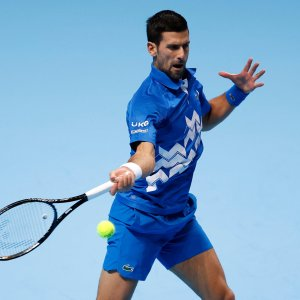 ATP World No.1 Djokovic in action at the Nitto ATP Finals in London.