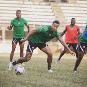 Super Eagles defender William Troost-Ekong trains with his teammates before their AFCON Qualifiers game against Sierra Leone.