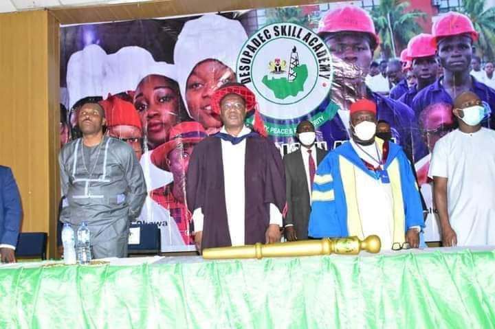 From Left: Chairman, DESOPADEC, MIchael Diden, Delta State Deputy Governor, Kigsley Otuaro, MD DESOPADEC, Askia Ogeah, during the launching of DESOPADEC Academy in Delta State.