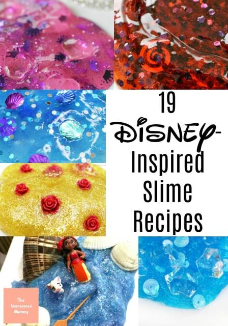 collage of different slime recipes inspired by Disney