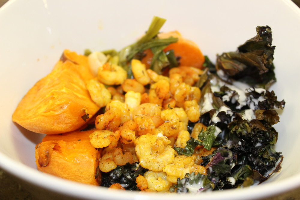 Curried Shrimp, Sweet Potato & Kale Buddha Bowls – AIP, Paleo, Whole 30