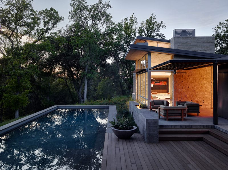 Forest house with a small pool design ideas