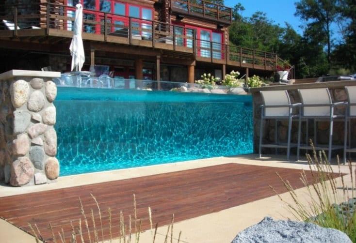 Glass-wall pools design ideas