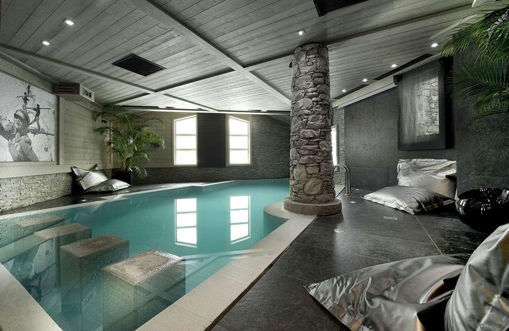 Lavish Stoned themed indoor swimming pool design ideas