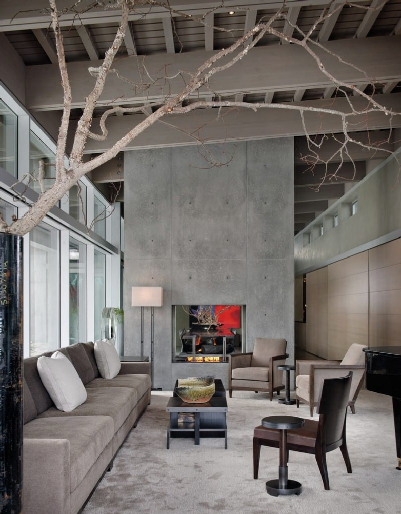 Solid Simple Concrete Fireplace decor ideas