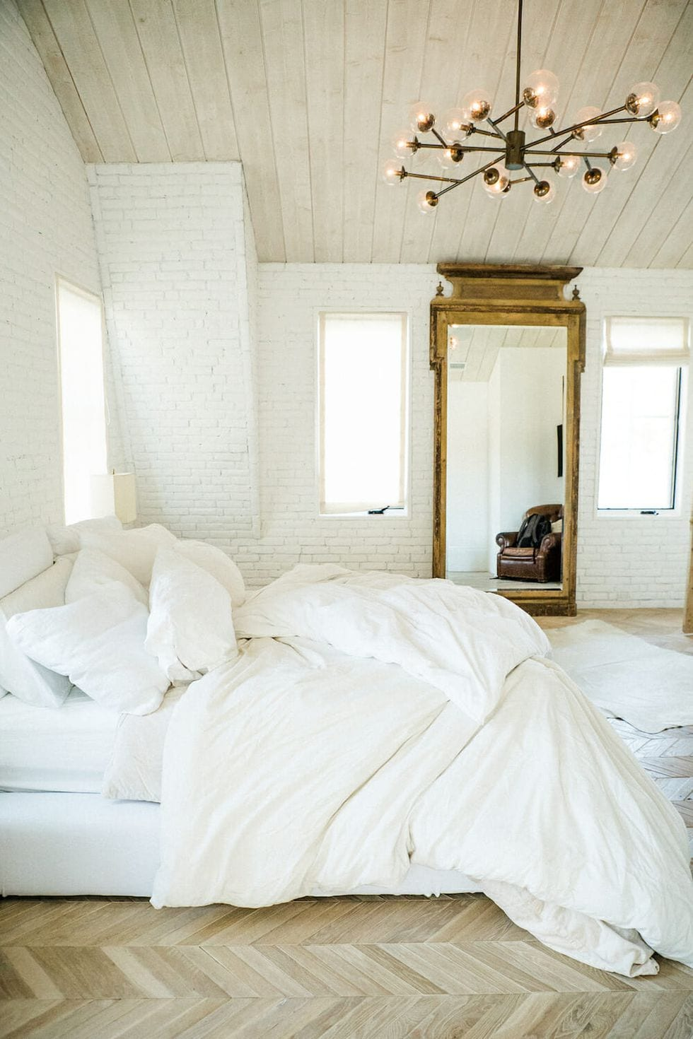 All white bedroom design for couples