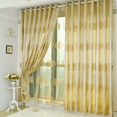 Bedroom Curtain With Golden Design