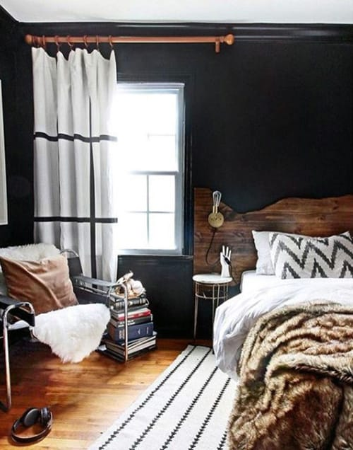 Black _ White Striped bedroom curtains designs