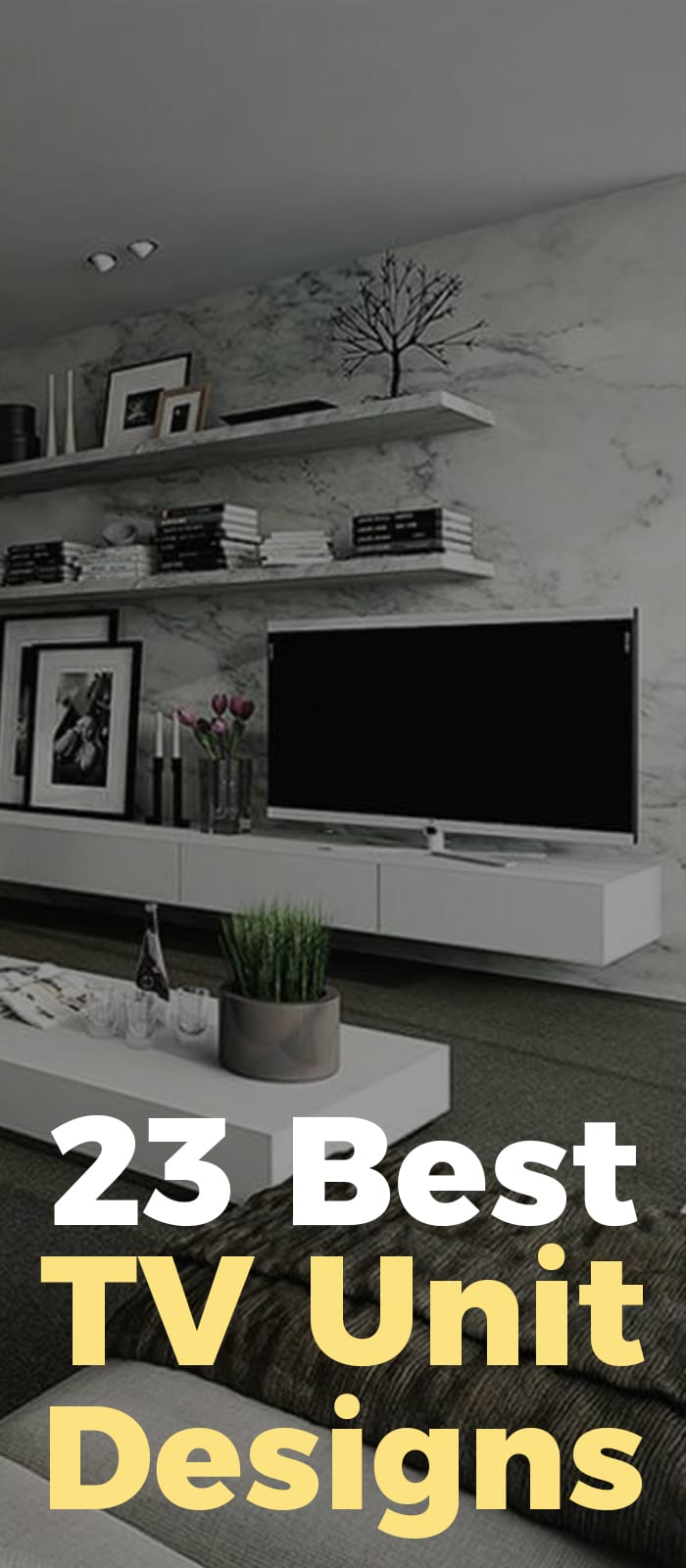 Black and white Tv unit designs!