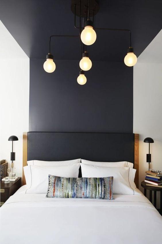 Black ceiling design for bedroom