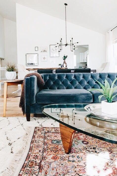 Blue velvet Living room sofa design