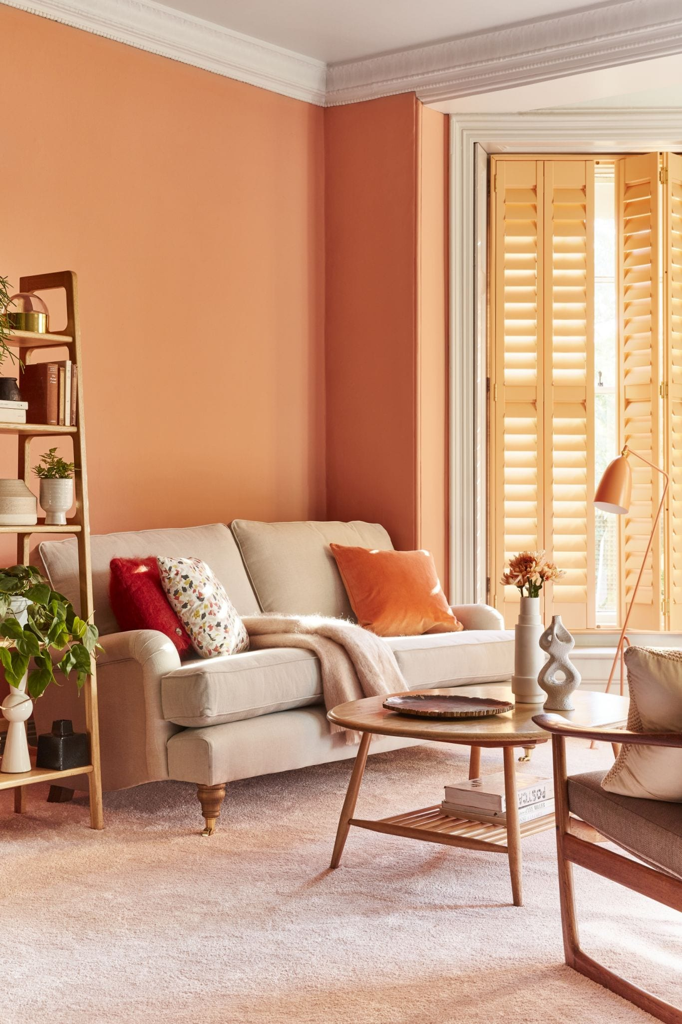 CORAL COLOURED LIVING ROOM PAINT