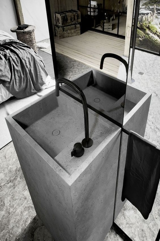 Charcoal black washbasin design ideas