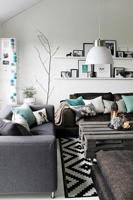 Cool Charcoal and Teal living room paint color ideas