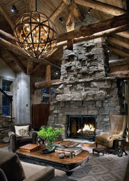 Cool rustic living room ideas with a fireplace