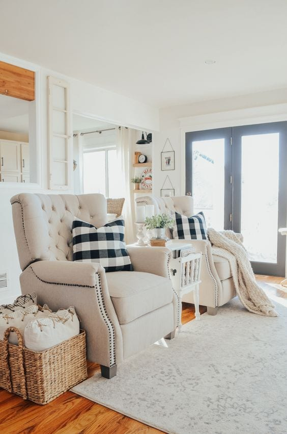 Cozy and neutral fabric recliner chairs