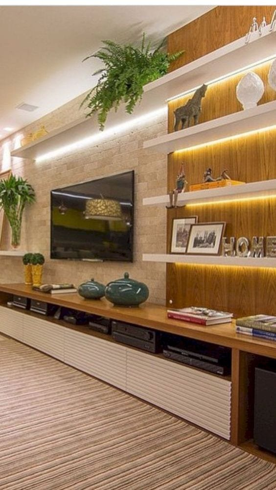 Golden TV unit design ideas