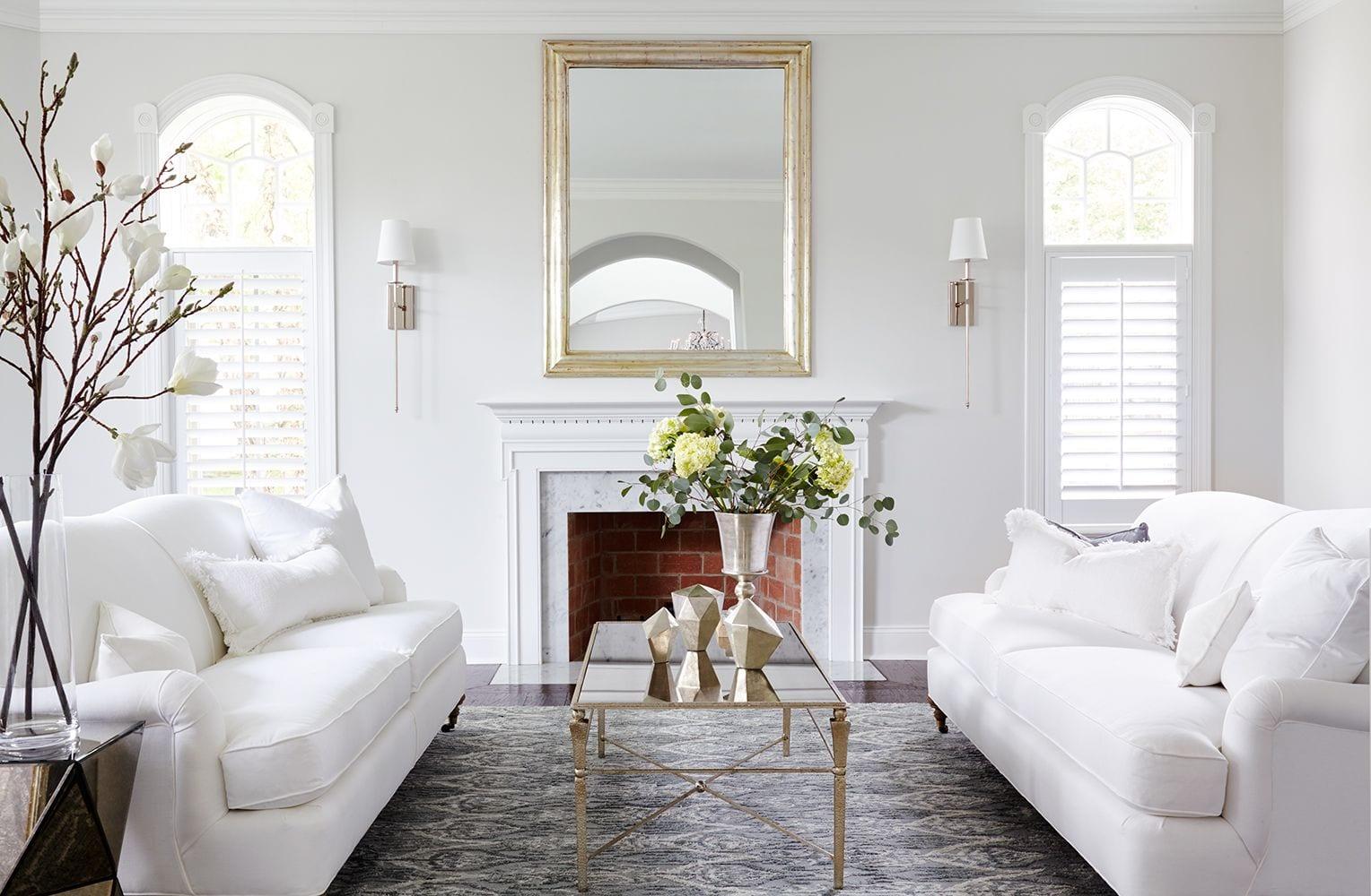 Living room with white sofa decor ideas