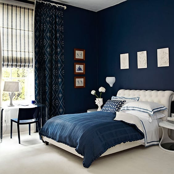 Navy Blue Patterns bedroom curtains designs
