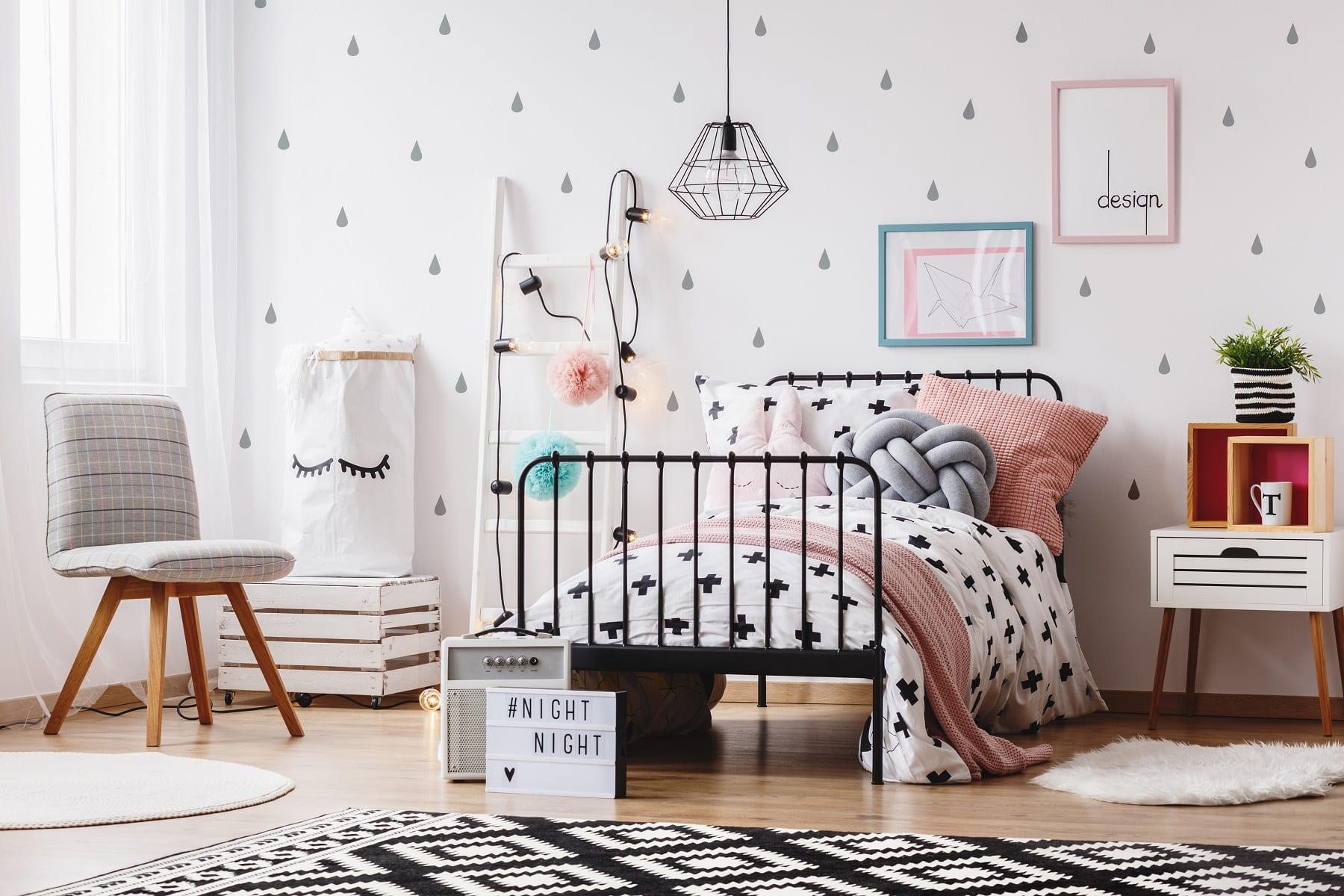 Grey chair in girl's bedroom