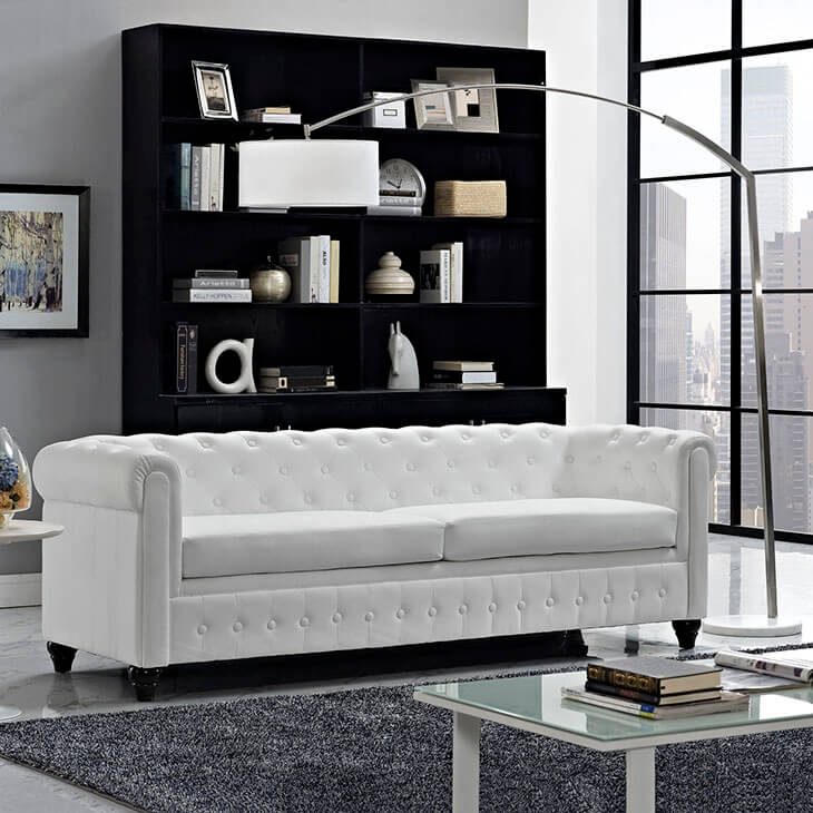 Small and simple white living room sofa ideas