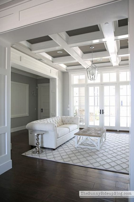 Square shaped ceiling design for living room