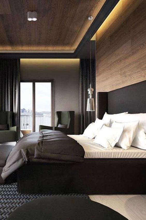 Wooden ceiling design for bedroom
