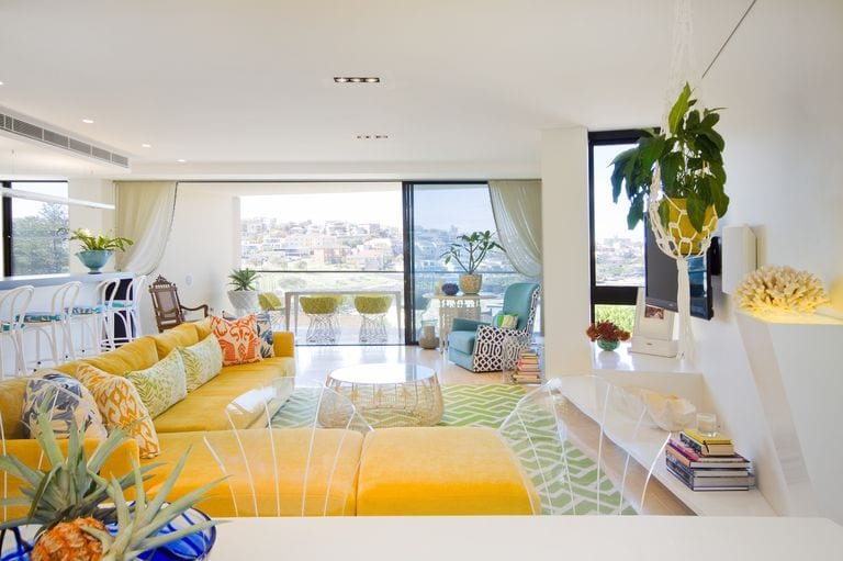 Yellow living room sofa ideas