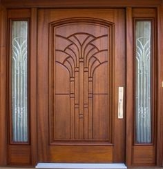 16. Main door art deco style groove design