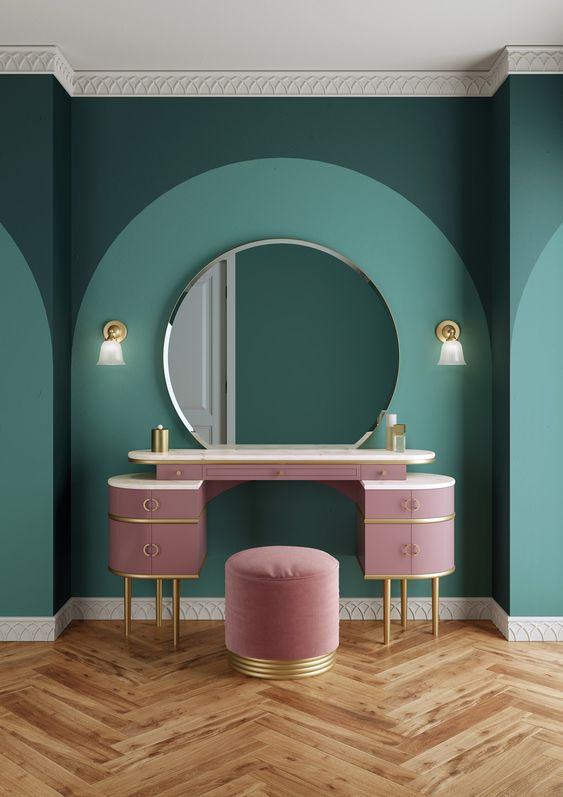 43. Emerald Green Complementing carnation pink furniture wall scones in symmetry